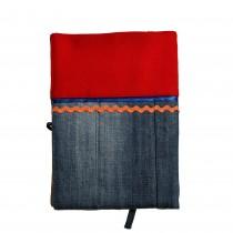 Подвързия за книга с шевица • червено и синьо