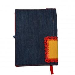 Подвързия за книга с шевица • жълто и червено