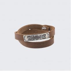 Кожена гривна с метална плочка с шевица • Косара
