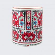 Чаша с Шевица от Софийско • Двуглав кон с ездачка, бяла
