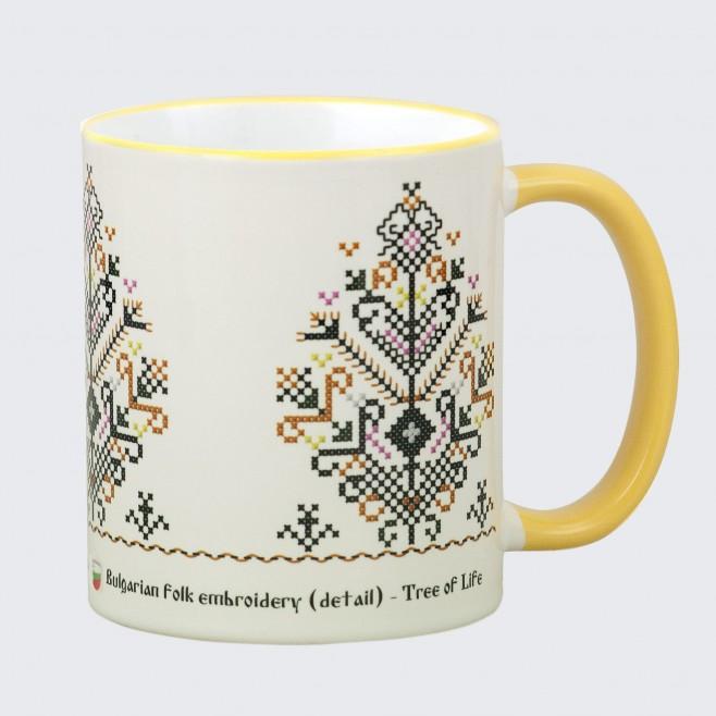 Чаша с Шевица Дървото на Живота • бяла