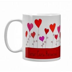 Чаша подарък за Свети Валентин Честит Свети Валентин с балони сърца