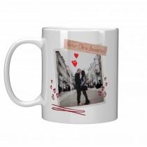 Чаша подарък за Свети Валентин със снимка Честит Свети Валентин/Обичам те
