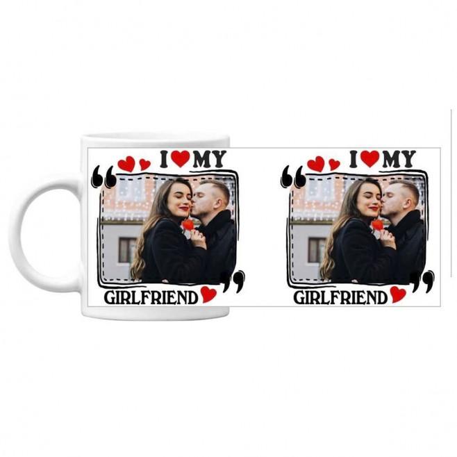 Чаша подарък за Свети Валентин със снимка I Love My Girlfriend - бяла
