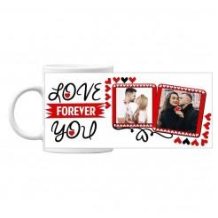 Чаша подарък за Свети Валентин със снимка Love You Forever - бяла