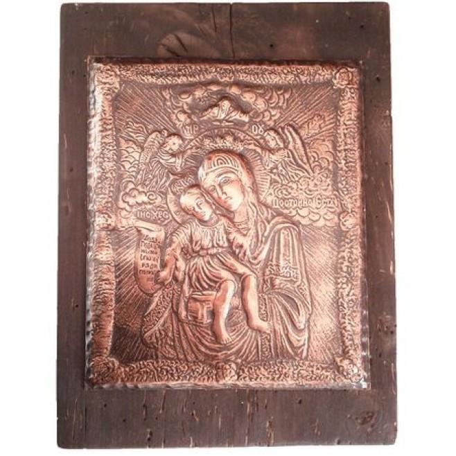 Медна Икона Света Богородица Достойно Есть