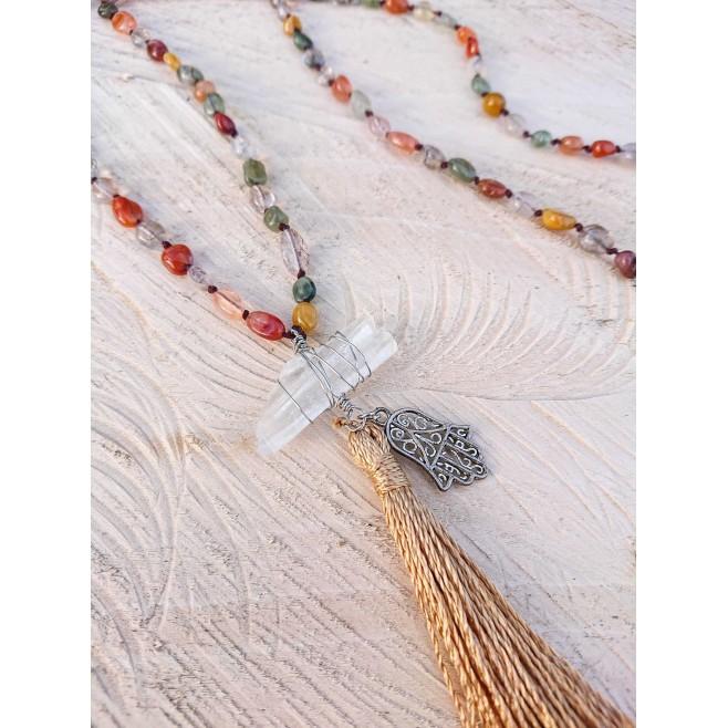 Колие Концентрация с ахат и висулка родопски планински кристал