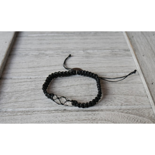 Гривна с родопски планински кристал Хармония, плетен шнур
