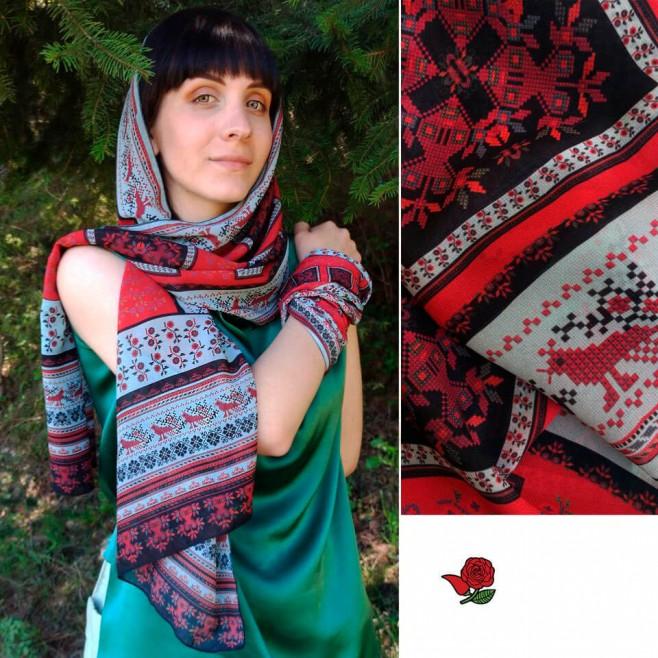Дамски шал с шевица Дария, шифон 160x45