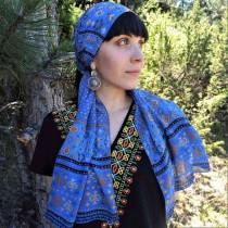 Дамски шал с шевица Синя Канатица, шифон 160x45