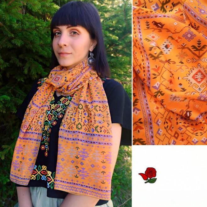 Дамски шал с шевица Жълта Канатица, шифон 160x45