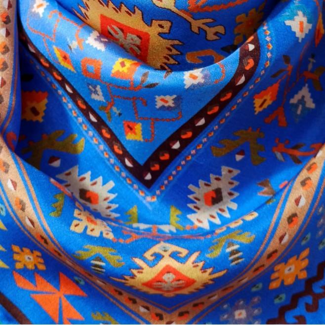 Копринен шал Синя Канатица 160*45