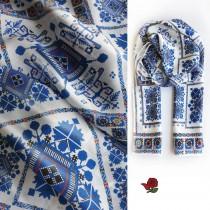 Копринен шал с шевица Веска Морето 160*45