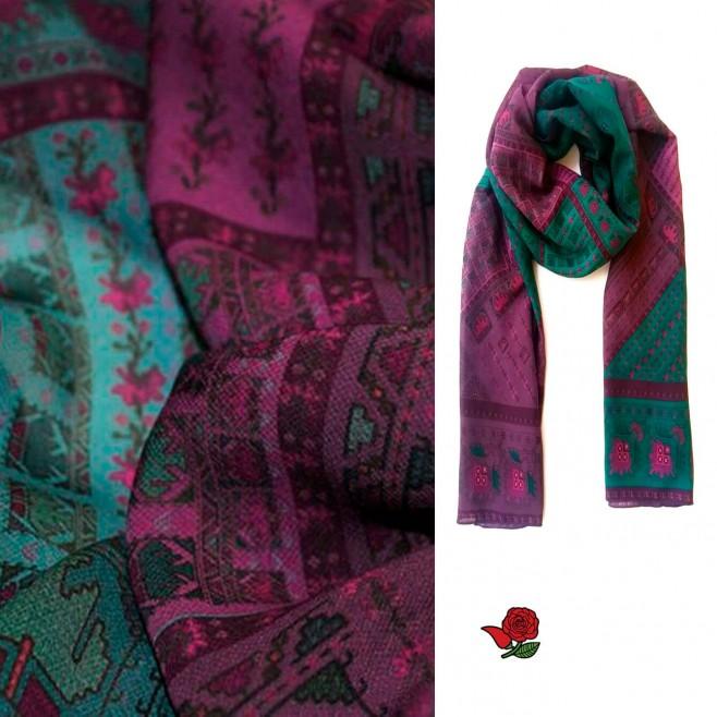 Дамски шал с шевица Лилия, шифон 160x45