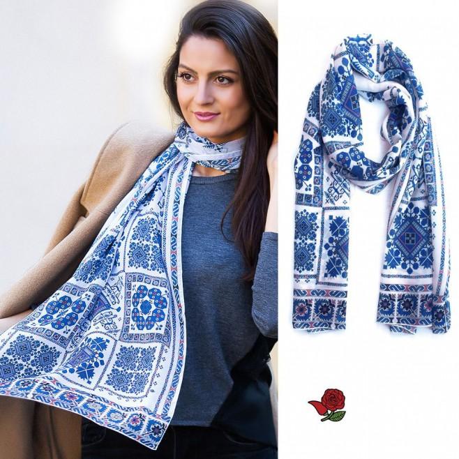 Дамски шал с шевица Веска Морето, шифон 160x45
