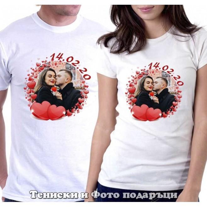 Комплект tениски за двойки и влюбени със снимка 14.02