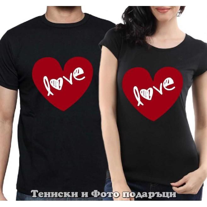 """Комплект Тениски за двойки и влюбени """"Love is in your heart"""""""