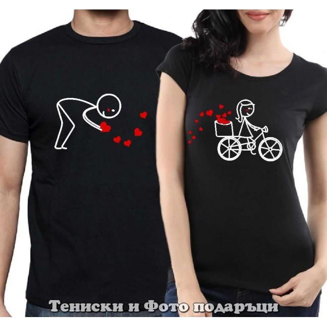 """Комплект Тениски за двойки и влюбени """"Следвай сърцето си"""""""