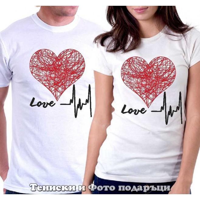 """Комплект Тениски за двойки и влюбени """"Сърцето ми бие за теб"""""""