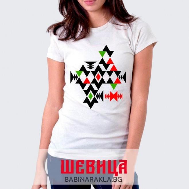 Дамска тениска с шевица - канатица, 028