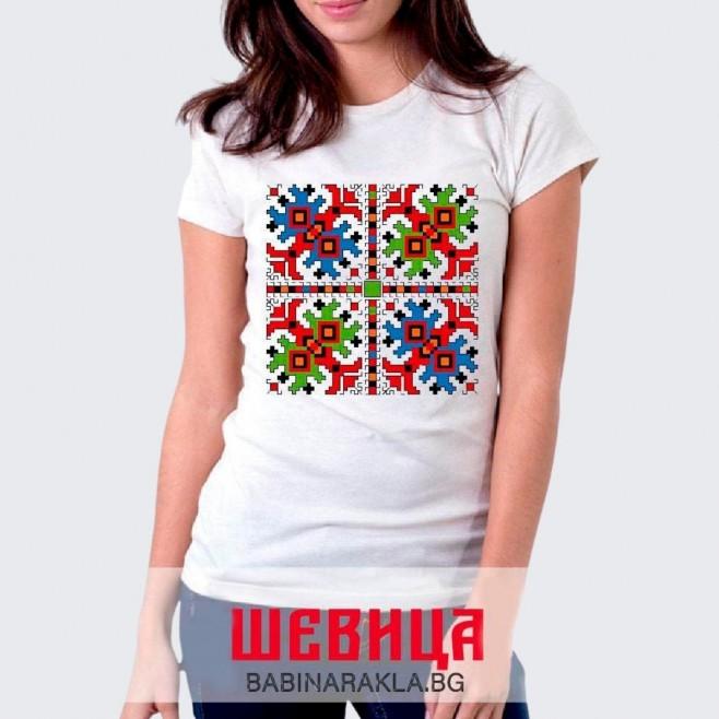 Дамска тениска с шевица 015
