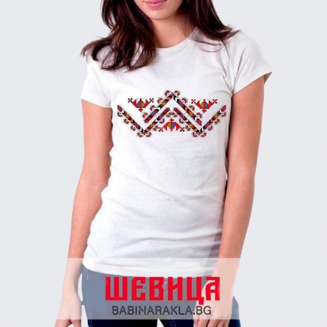 Дамска тениска с шевица 016
