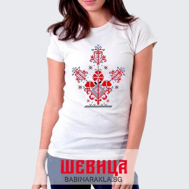 Дамска тениска с шевица 018