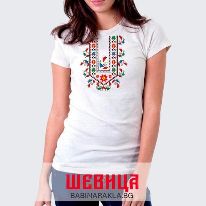 Дамска тениска с шевица 022
