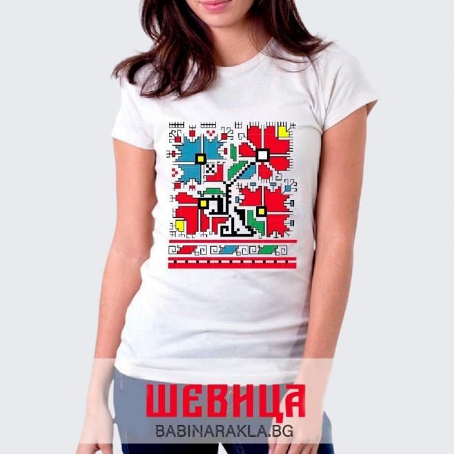 Дамска тениска с шевица 003