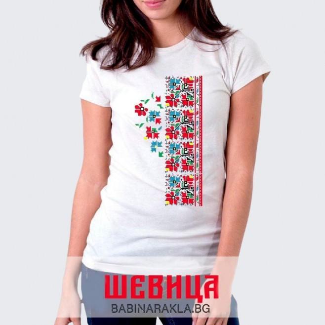 Дамска тениска с шевица 004