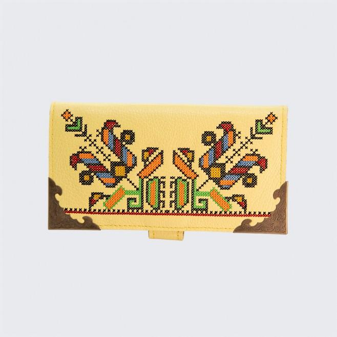 Дамски кожен портфейл с шевица Светла