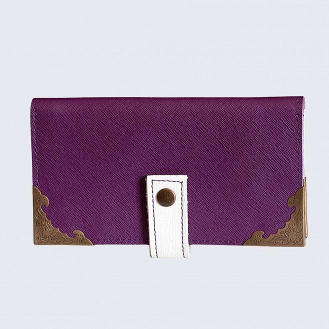Кожен портфейл с шевица Лила