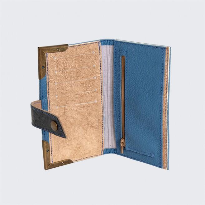 Кожен портфейл с шевица Синева